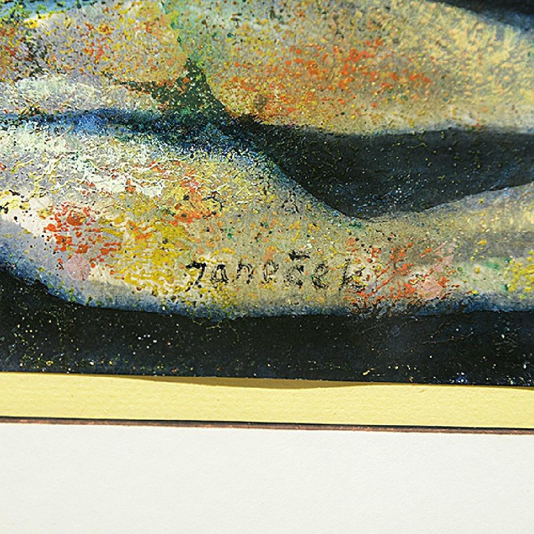 "Ota Janecek ""Three Figures"" mixed media on paper - 3"