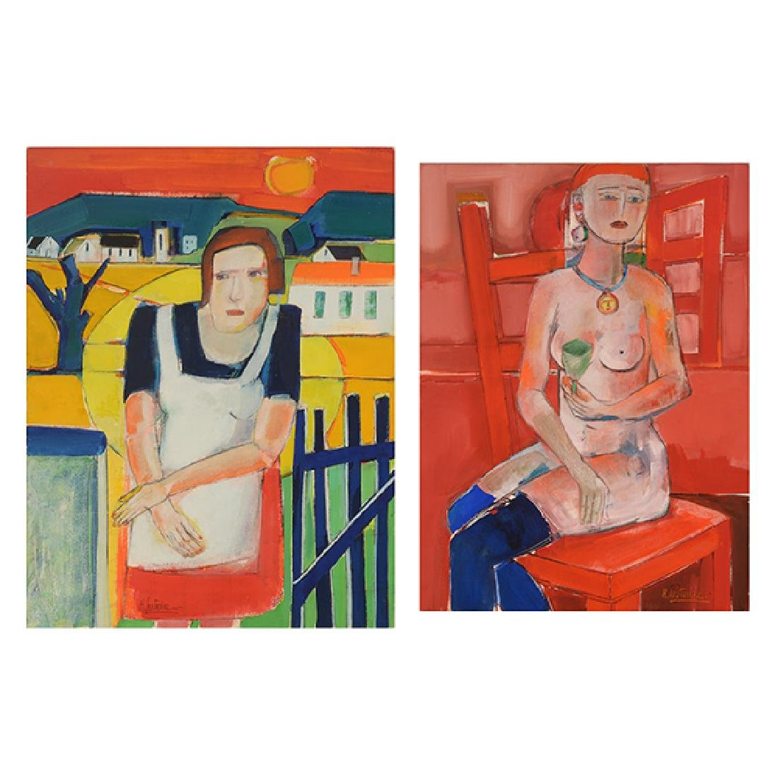 """Rene Couturier """"Seated Nude"""" and """"Madame Matisse"""" mixed"""