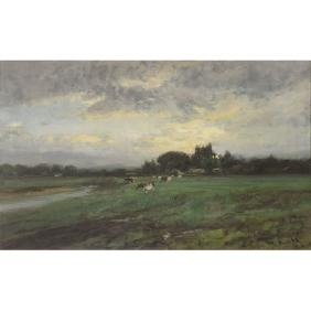 """William Keith """"Cows in Field"""" oil on canvas"""