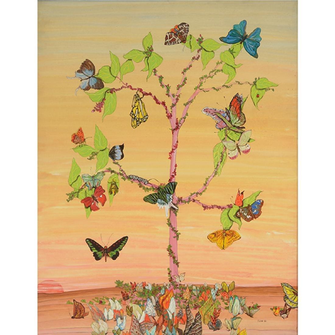 "Fleur Cowles ""Flowers in Flight"" mixed media on paper"
