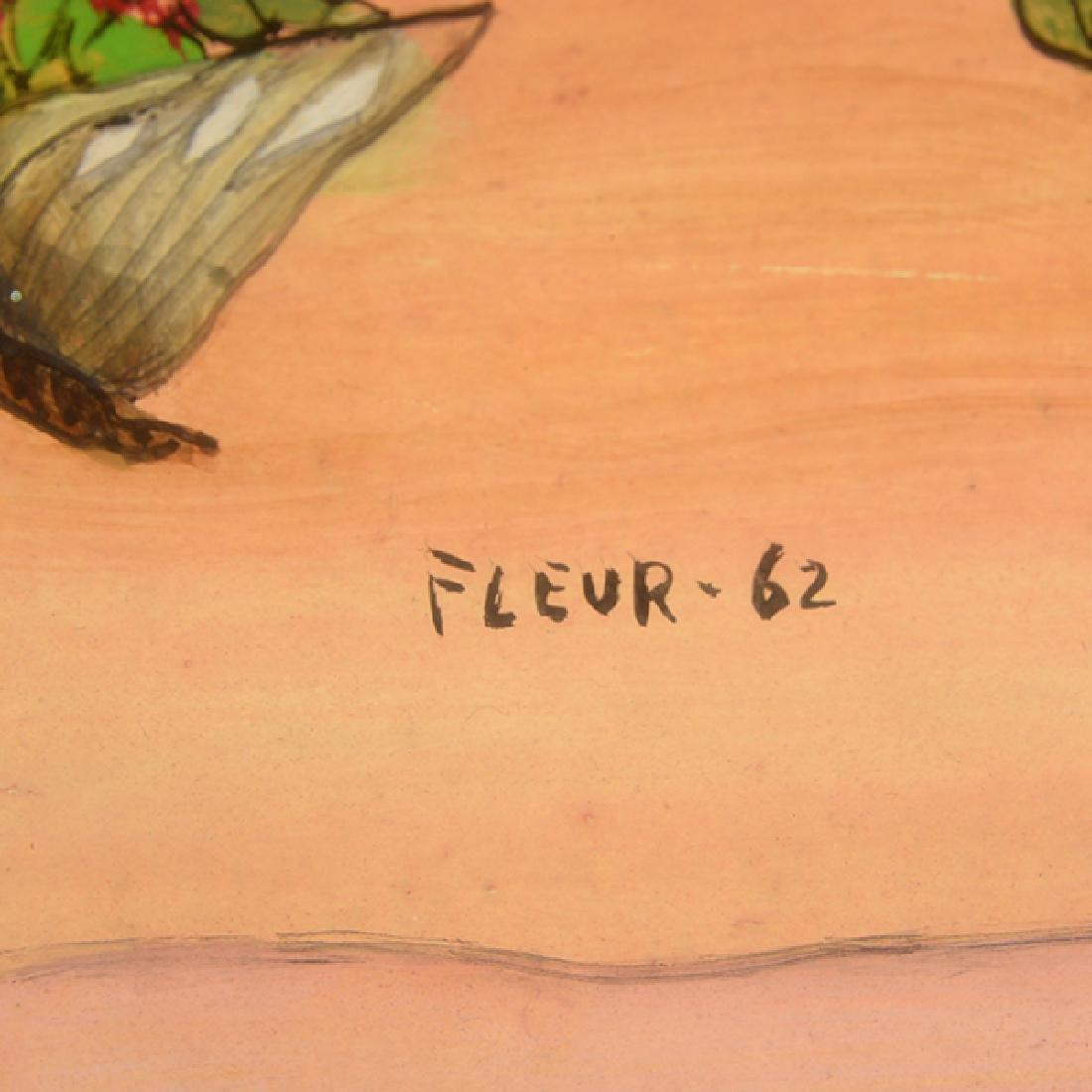 "Fleur Cowles ""Flowers in Flight"" mixed media on paper - 2"