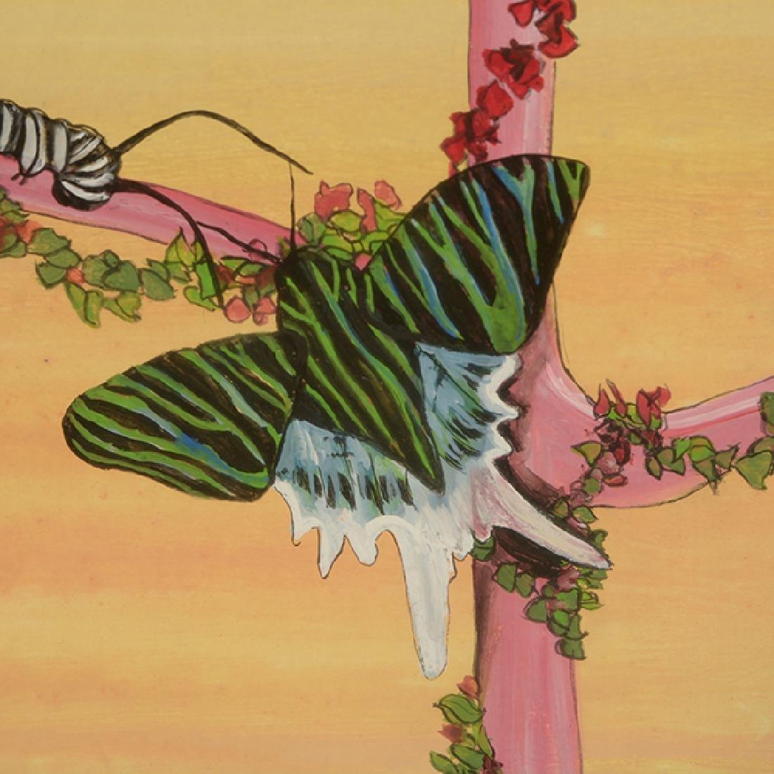 "Fleur Cowles ""Flowers in Flight"" mixed media on paper - 3"
