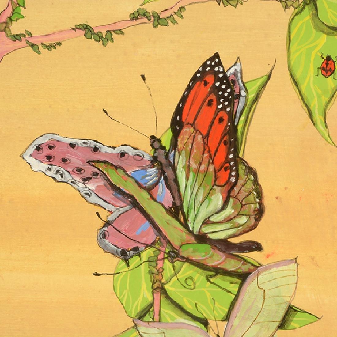 "Fleur Cowles ""Flowers in Flight"" mixed media on paper - 4"