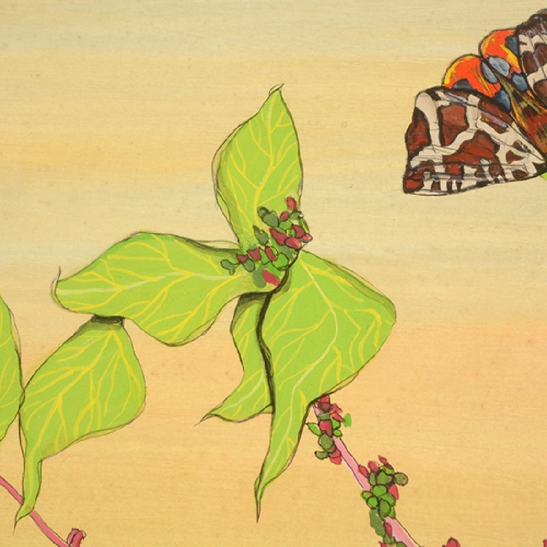 "Fleur Cowles ""Flowers in Flight"" mixed media on paper - 6"