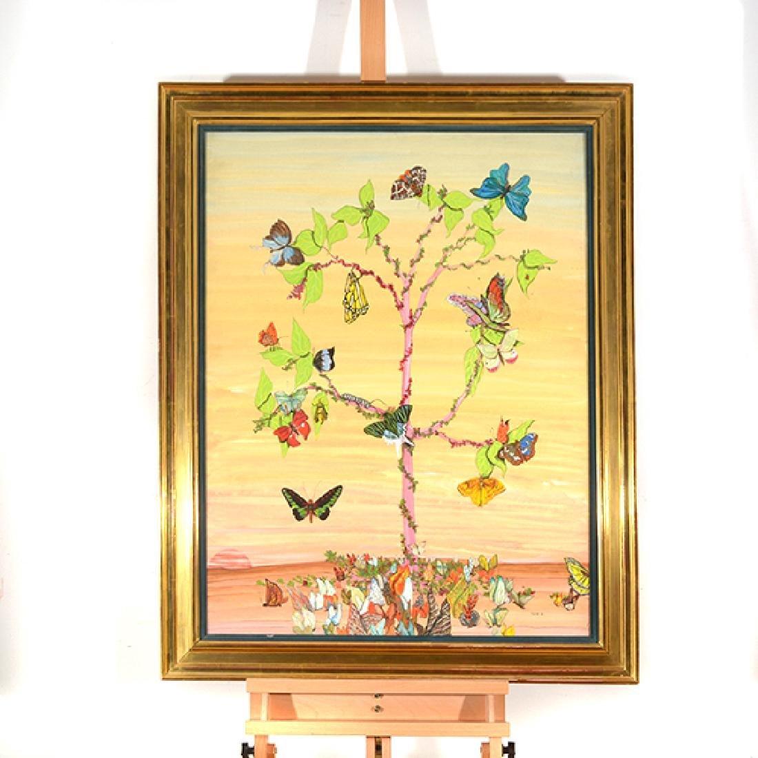 "Fleur Cowles ""Flowers in Flight"" mixed media on paper - 7"