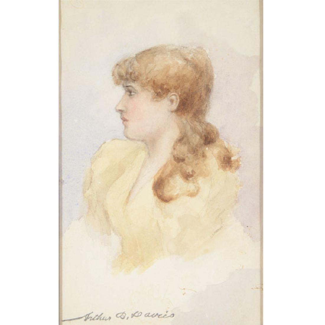 "Arthur Bowen Davies ""Portrait of a Woman"" watercolor"