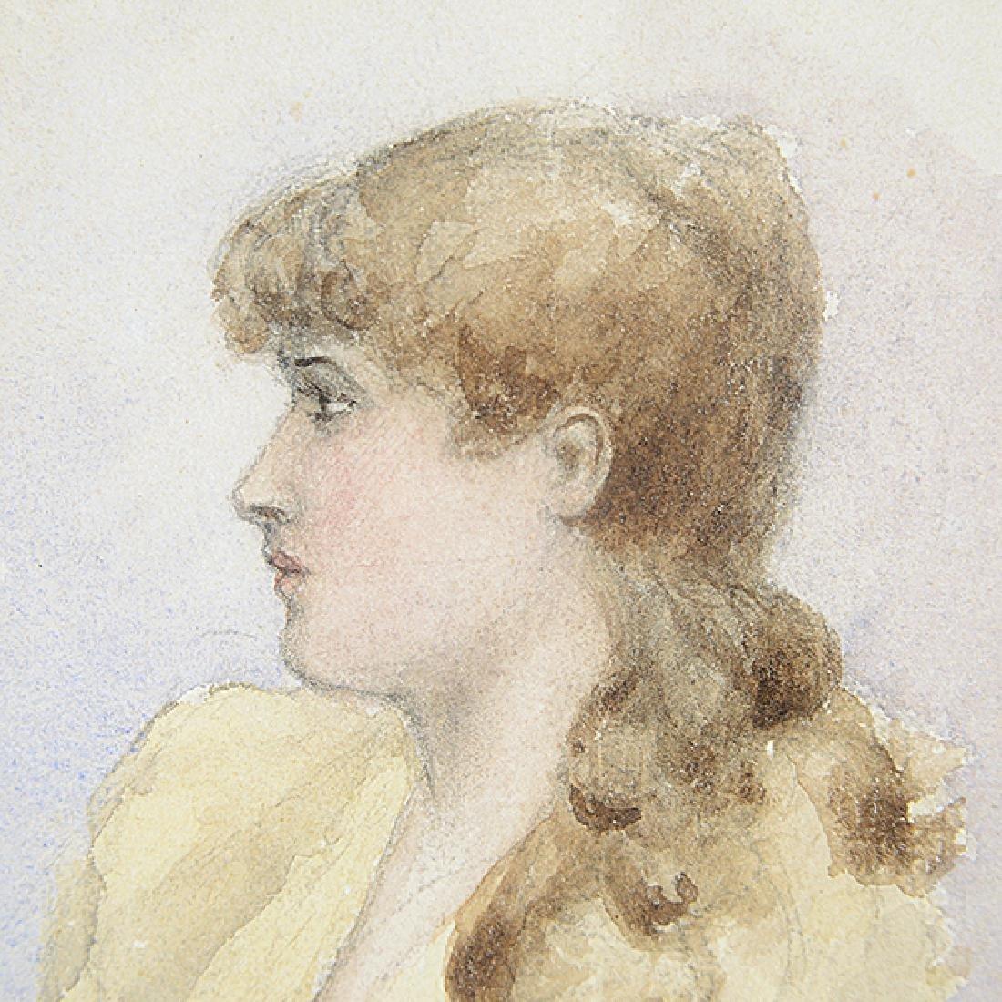 "Arthur Bowen Davies ""Portrait of a Woman"" watercolor - 3"