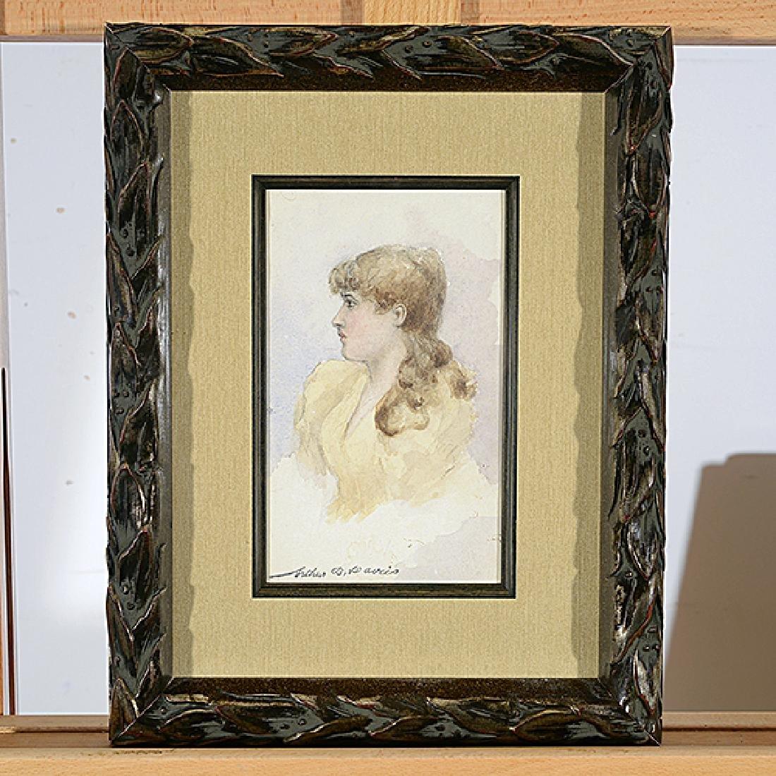 "Arthur Bowen Davies ""Portrait of a Woman"" watercolor - 4"
