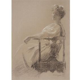 "Edward Robert Hughes ""Study of a Seated Woman"" black"