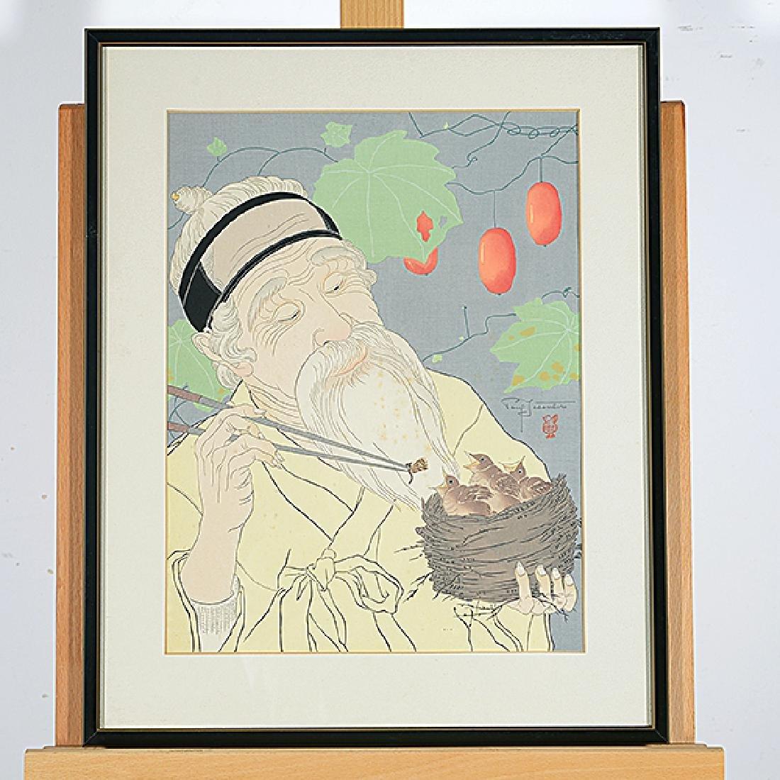 "Paul Jacoulet 7 ""Figural Genre scenes"" color woodblock - 3"