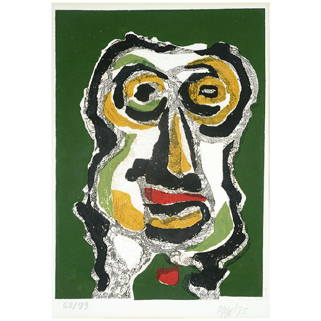 "Karel Appel ""Abstract face on green background"" color"