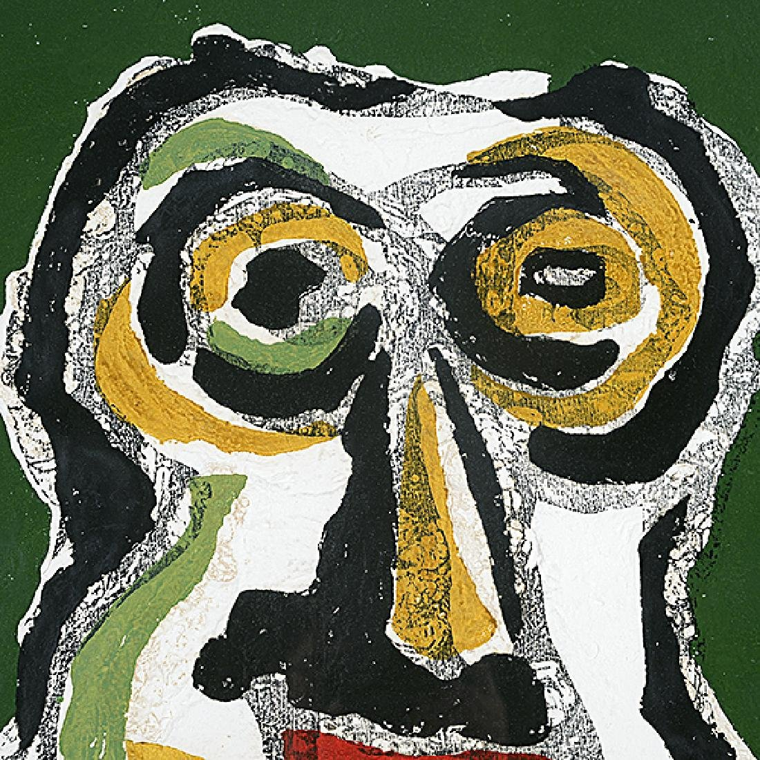 "Karel Appel ""Abstract face on green background"" color - 4"