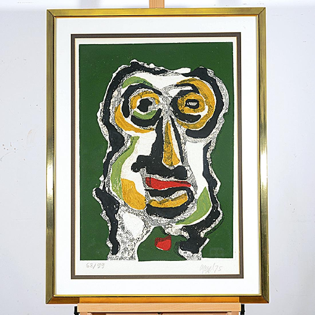 "Karel Appel ""Abstract face on green background"" color - 5"