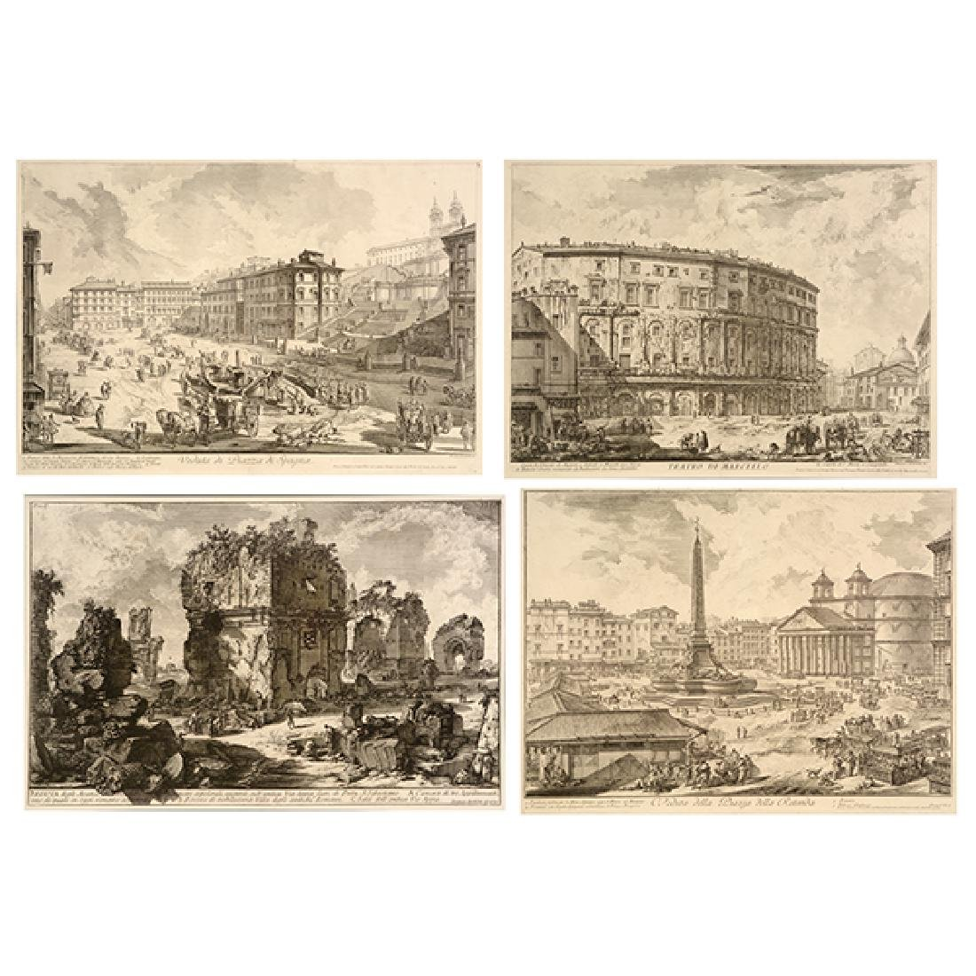 """After Giovanni Piranesi four """"Roman Ruins"""" etching"""