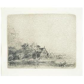 """After Rembrandt """"Landscape with a Cow"""" etching"""