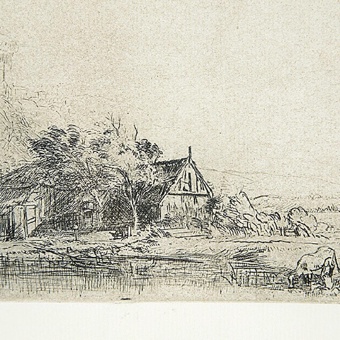 """After Rembrandt """"Landscape with a Cow"""" etching - 2"""