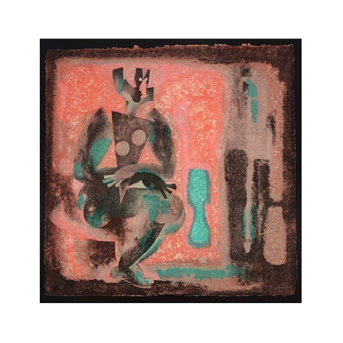 "Byron Galvez ""Uno Paso"" acrylicograph on paper"