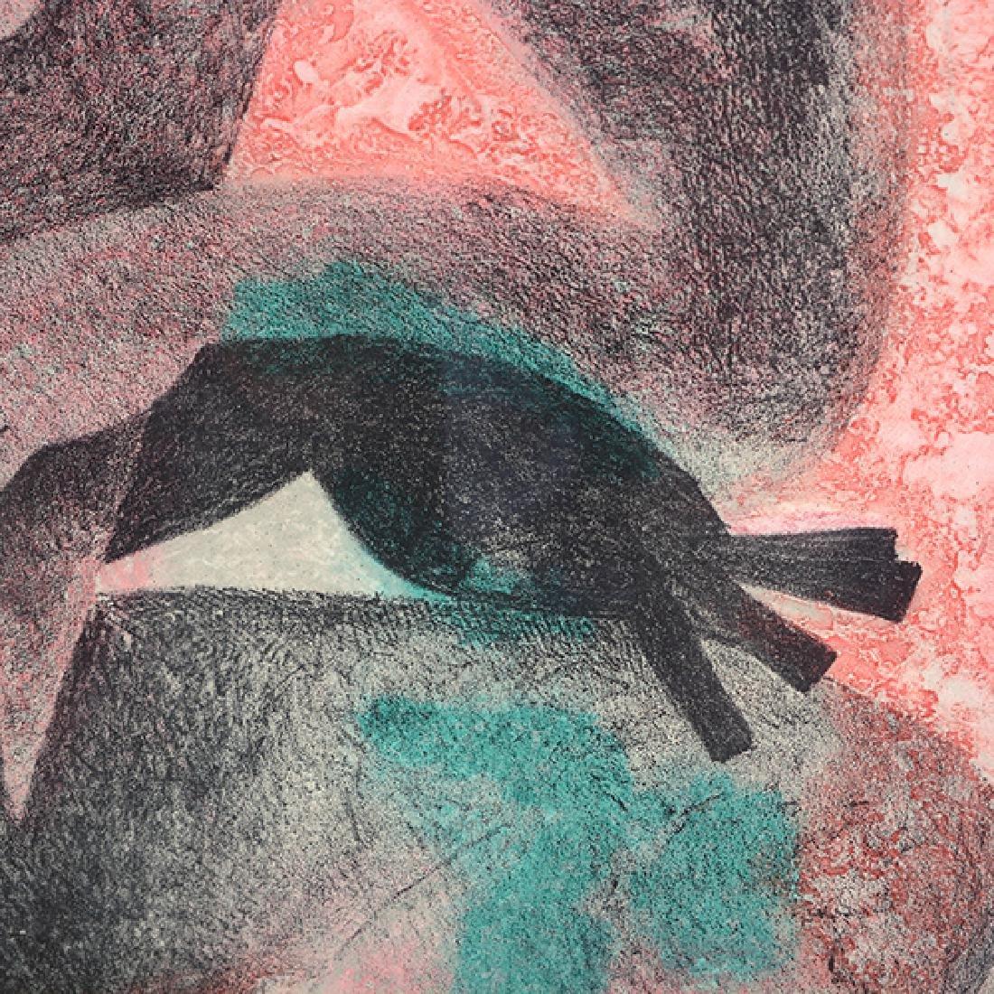 "Byron Galvez ""Uno Paso"" acrylicograph on paper - 6"