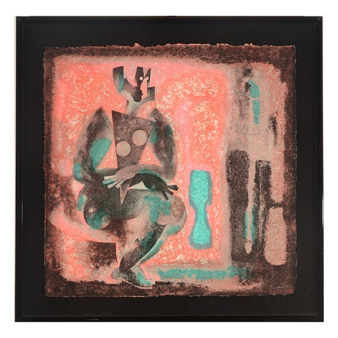 "Byron Galvez ""Uno Paso"" acrylicograph on paper - 9"