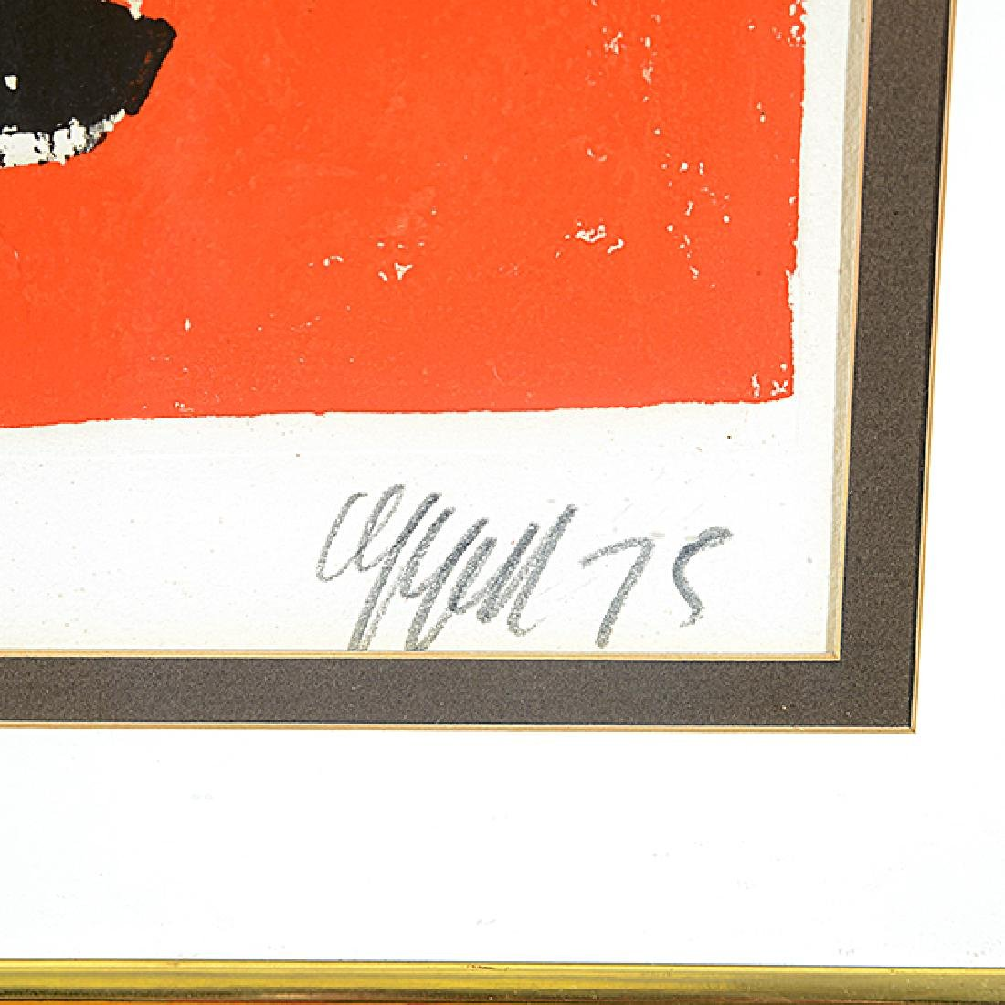 """Karel Appel """"Face on Red Background"""" color aquatint and - 2"""