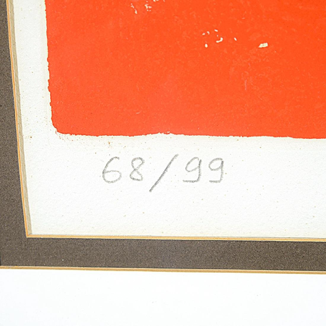 """Karel Appel """"Face on Red Background"""" color aquatint and - 3"""