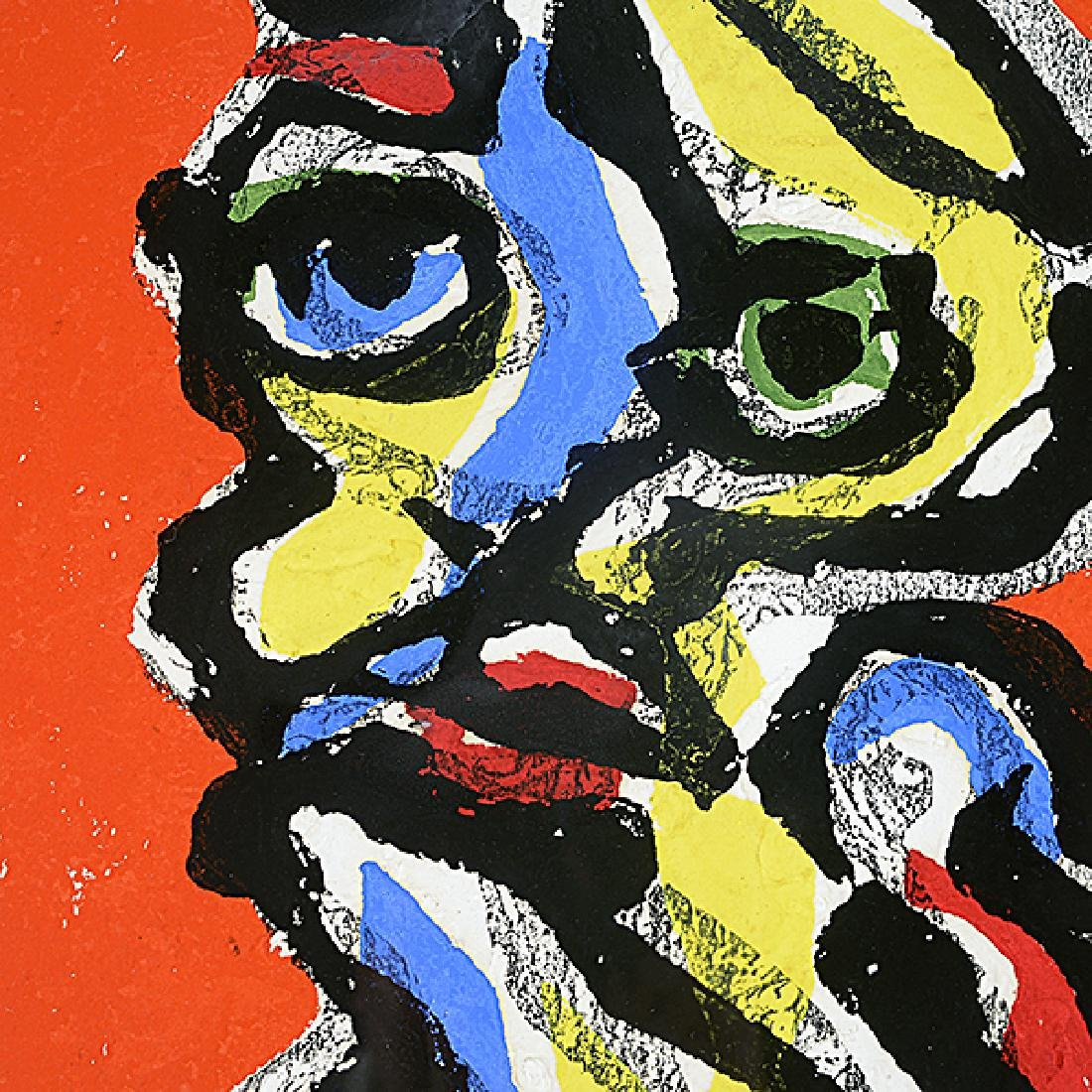 """Karel Appel """"Face on Red Background"""" color aquatint and - 4"""