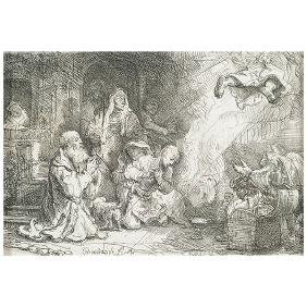 """After Rembrandt """"The Angel departing from the family of"""
