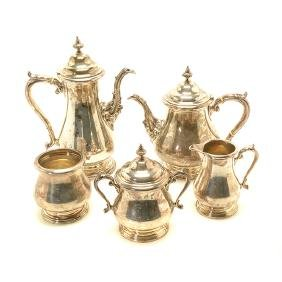 Shreve Sterling Five Piece Coffee and Tea Service