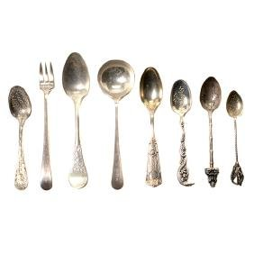 Collection of Assorted Sterling Flatware with Souvenir