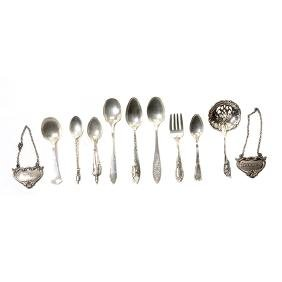 Collection of Sterling Silver Souvenir Spoons