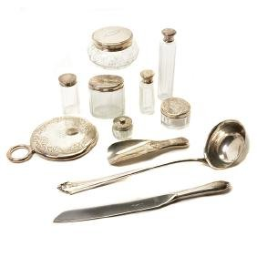 Gorham Sterling Mounted Ten Piece Dressing Set