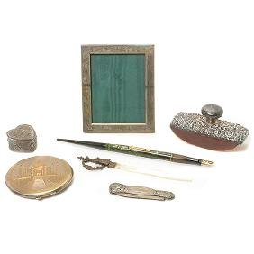 Collection of Sterling Ladies' Desk and Dresser
