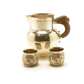 William Spratling Sterling Water Pitcher and Two