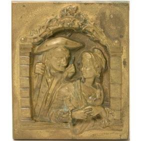 Renaissance Revival Gilt Bronze Plaque of Couple