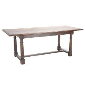 Italian Renaissance Revival Oak Trestle Table with