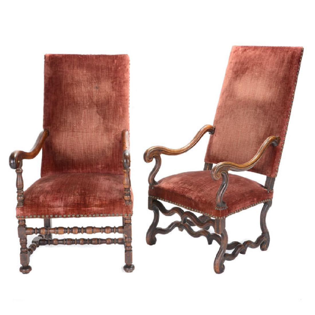Pair of Baroque Armchairs with Red Velvet Upholstery