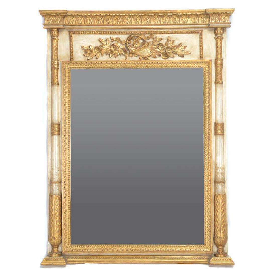 Italian White and Gilt Painted Beveled Pier Mirror