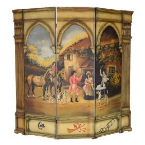 Rococo Style Hand Painted Three Panel Screen