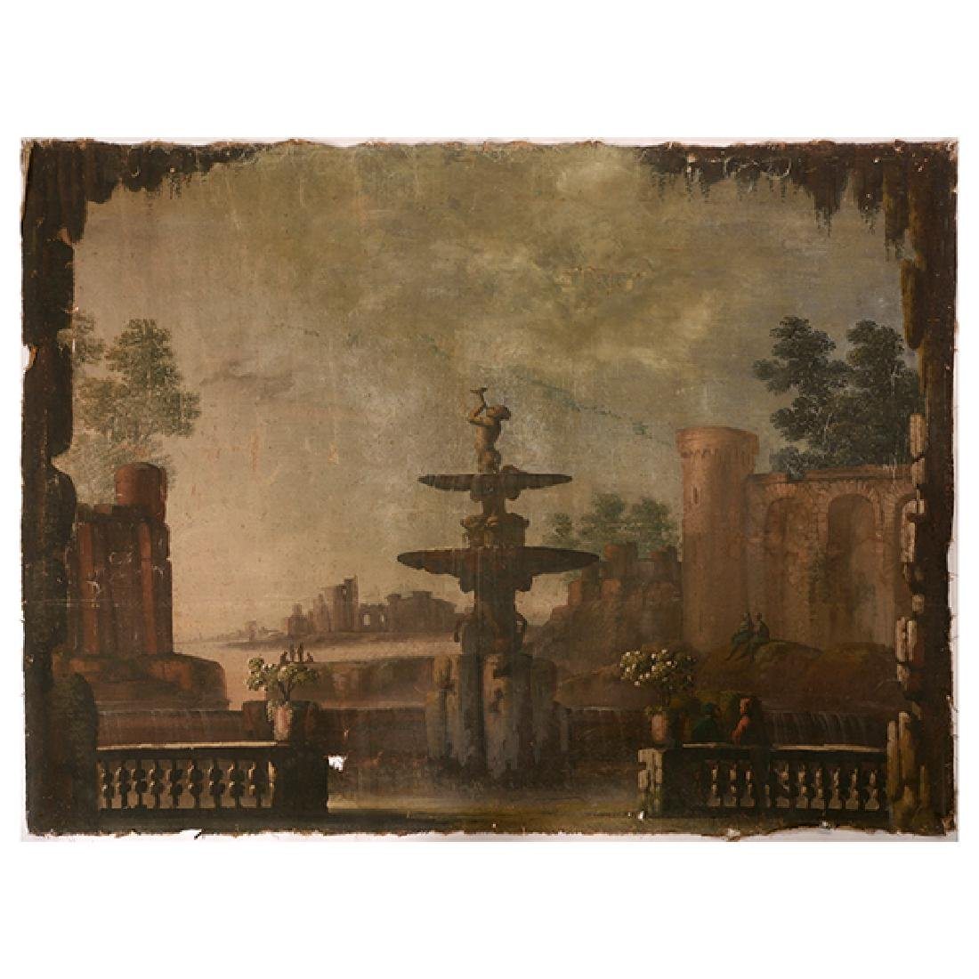Italian Rococo Revival Painted Canvas Panel with