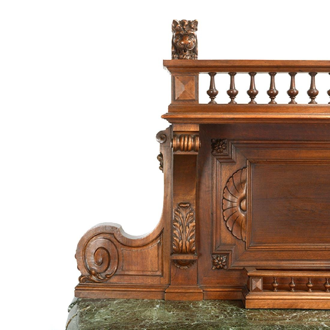 Louis XV Style Walnut Buffet with Green Marble Top - 3