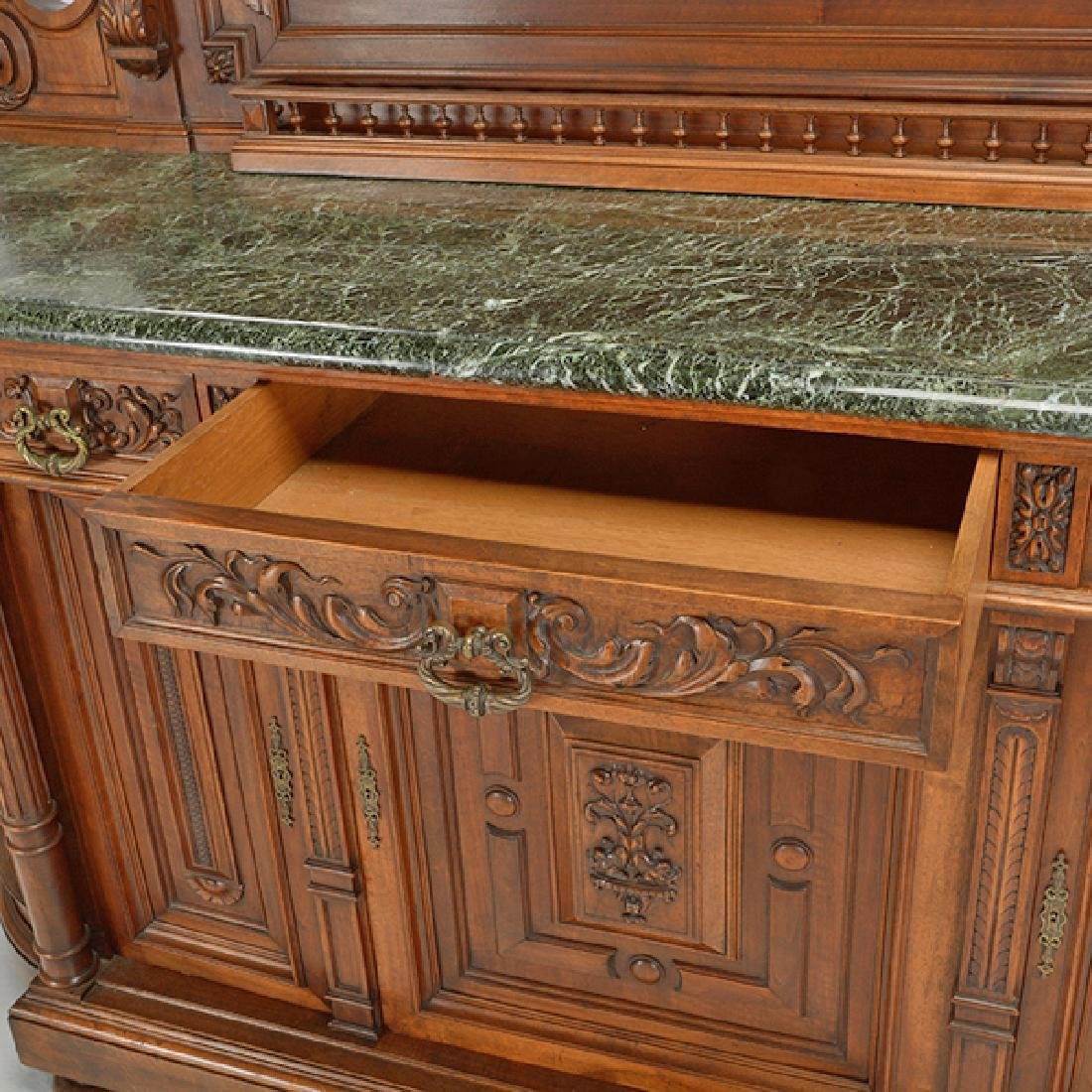 Louis XV Style Walnut Buffet with Green Marble Top - 5