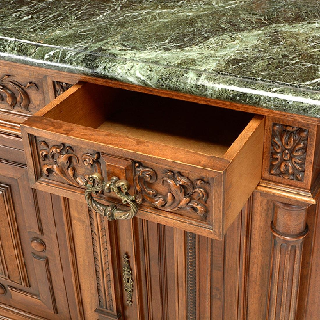 Louis XV Style Walnut Buffet with Green Marble Top - 7