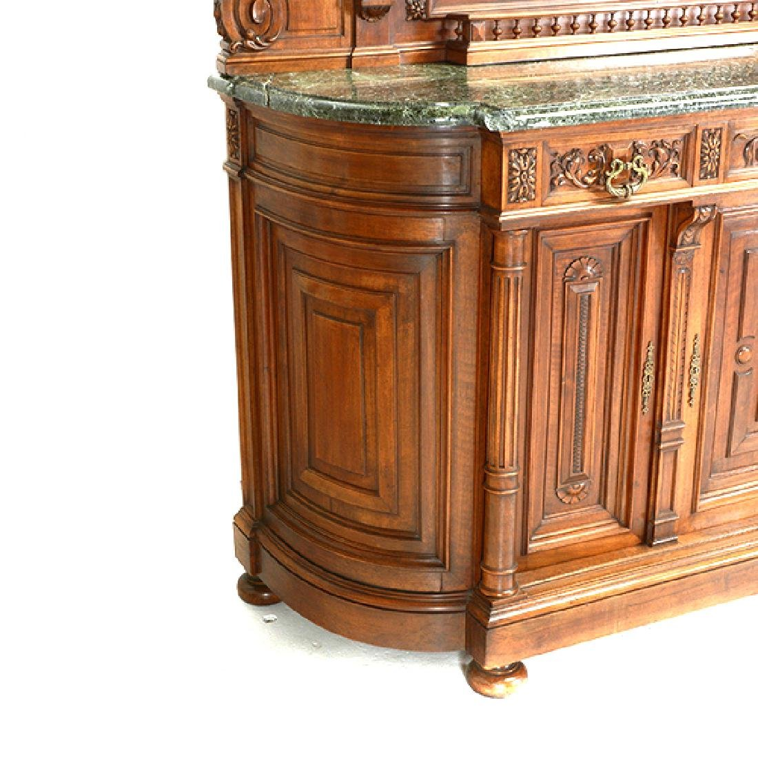 Louis XV Style Walnut Buffet with Green Marble Top - 8