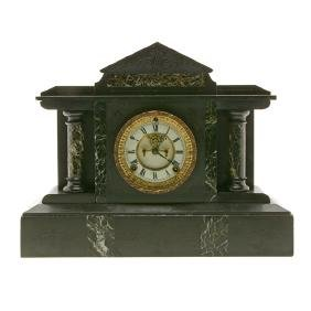 French Black Slate and Marble Temple Form Mantle Clock