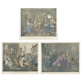Three Hand Colored Hogarth Etchings