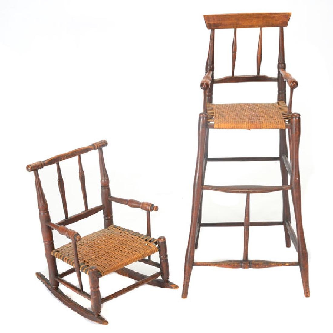Two Connecticut Federal Painted Child's Highchair and