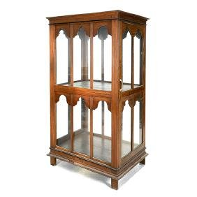 Anglo Indian Gothic Revival Two Tier Walnut Glass