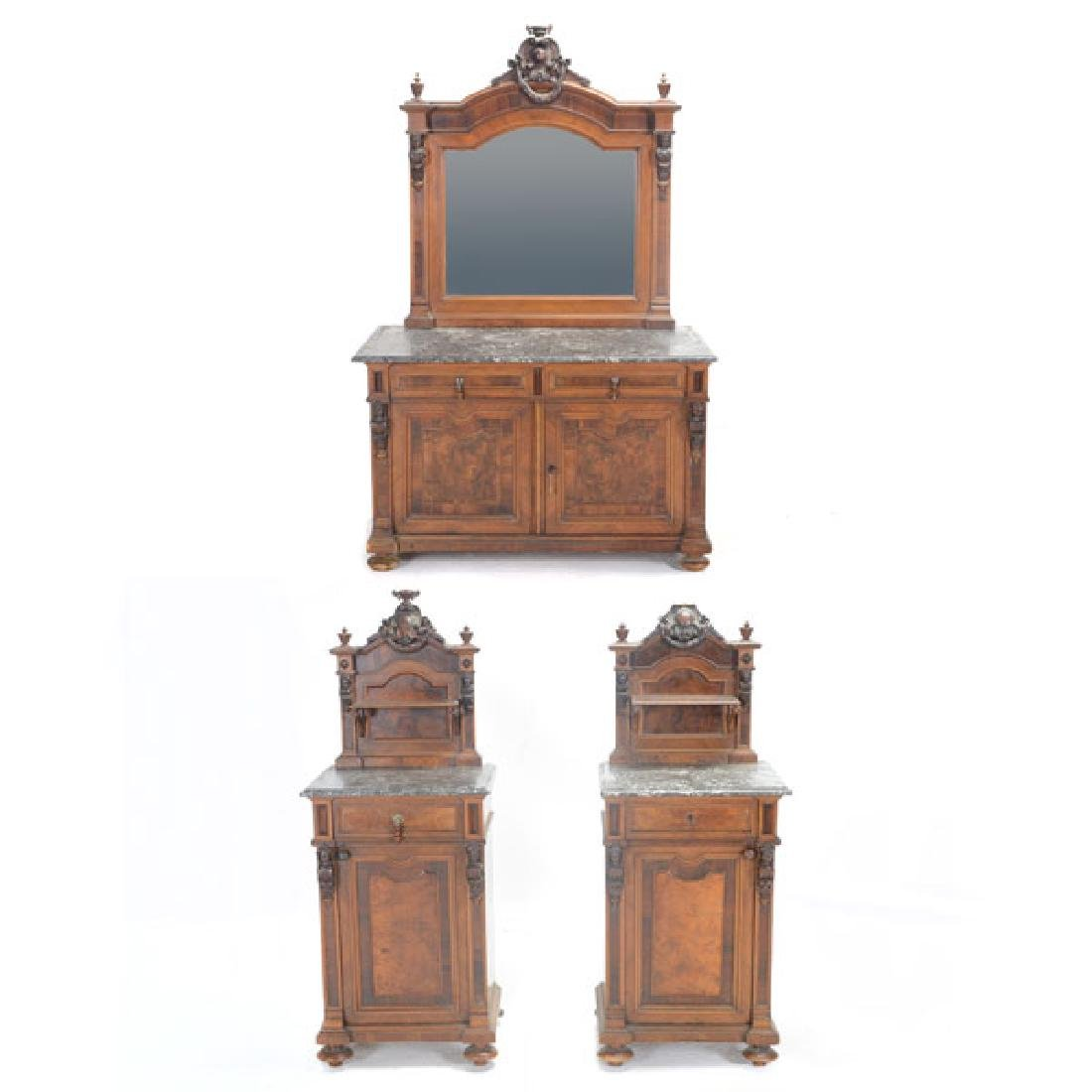 Pair of Rococo Revival Bedside Tables with Commode