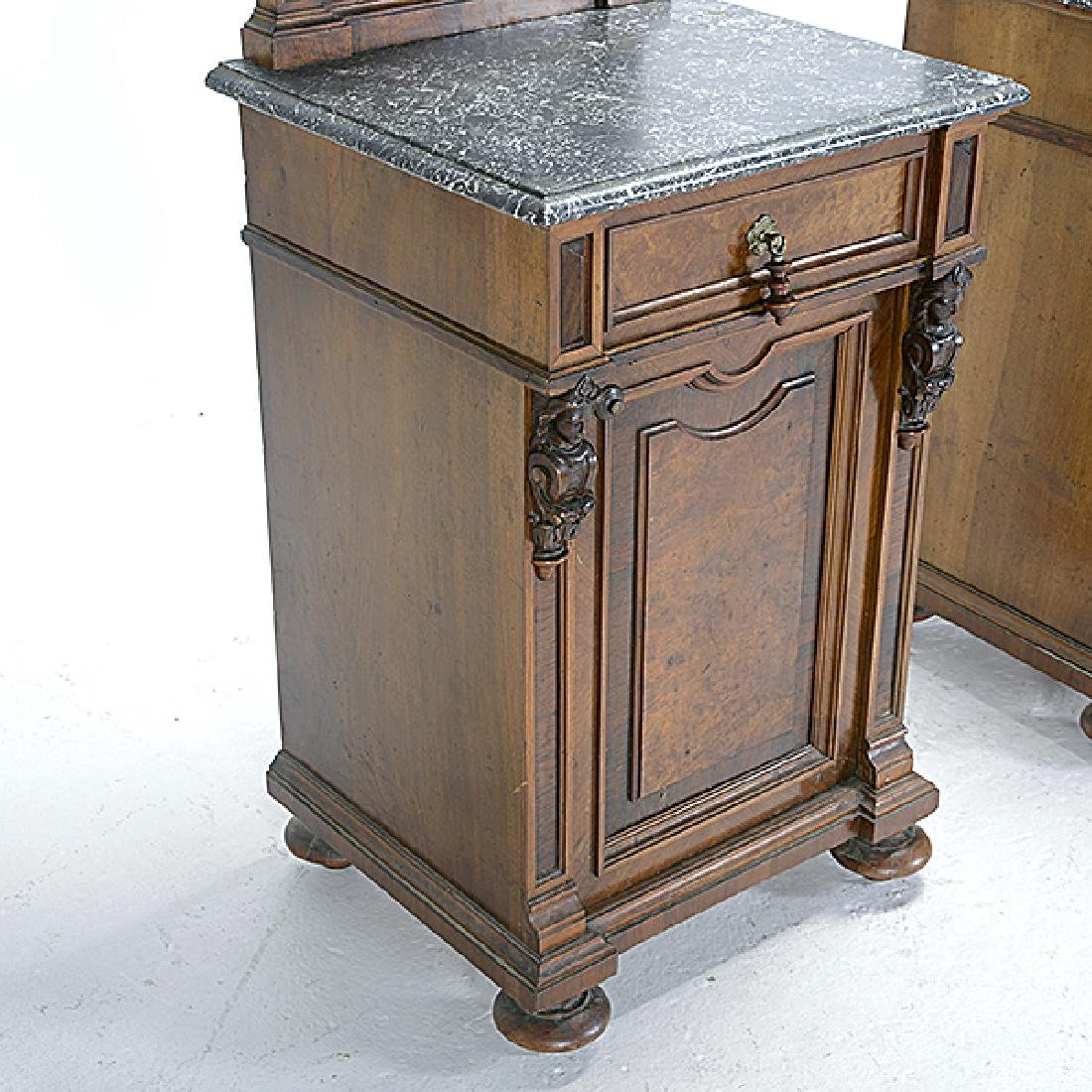 Pair of Rococo Revival Bedside Tables with Commode - 4