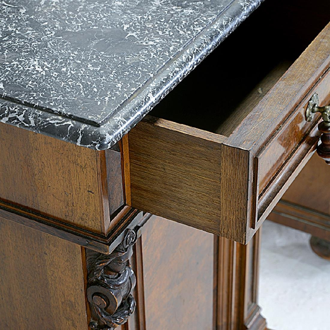 Pair of Rococo Revival Bedside Tables with Commode - 5